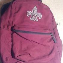 Maroon Jansport Backpack With Rhinestone Fleur De Lis Design  Photo