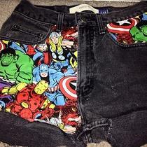 Marvel Comic Book Black High Waist Shorts Size 5/7 Gap Distressed Photo