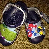 Marvel Superhero Squad Kids Crocs Navy & Silver C4/5 Spider-Man Wolverine Bnwt Photo