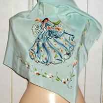 Marvelous Vintage 1940's Hand Painted Aqua Silk 30 Scarf With Spanish Dancer Photo