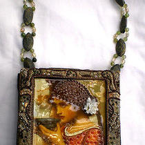Mary Frances Handbag Purse Art to Wear Art Nouveau Lady Beads Pearls Green Gold Photo