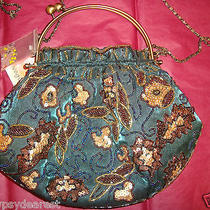 Mary Francis Style Vogue Beaded Green Satin Handbag Sequins Snaps or Chain Nwt Photo