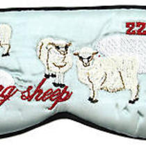 Mary Green Light Blue Comfortable Silk Satin Counting Sheep Sleep Mask Eye Cover Photo
