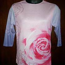 Mary Kay Inc Pink & Purple Floral Pullover Top 3/4 Sleeve Blk Trim at Neck L Photo