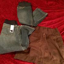 Maternity Capri Jeans (Liz Lange Sz 2 & 4) & Skirt (Gap Sz 4) Lot Photo