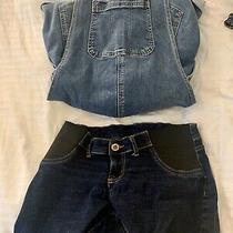 Maternity Denim Shorts Overalls Lots Gap Indigo Blue S/xs Photo