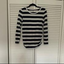 Maternity Long Sleeve Top Blue White Stripes Size S Photo
