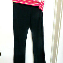 Maternity Mossimo Black/tangerine & White Band Knit Pants - Inseam 33