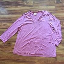 Maternity Pink Blush Rose 3/4 Length Long Sleeve Shirt Top Large Photo
