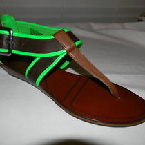 Matiko Brown Leather W/green Thong Sandals New Size Sz 10  Photo