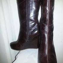 Matiko Chocolate Brown Genuine Leather Wedge Heel Knee High Boot 9m Photo