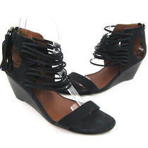 Matiko Women's Black Nubuck Leather Strappy Wedge Heel Shoe Size 7.5 Photo