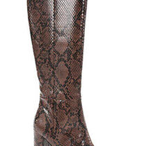 Matiko Womens Faux Snake Embossed Knee High Alma Boots Brown Size 37 7 Photo