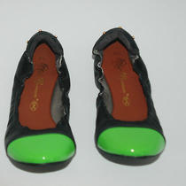 Matt Bernson 59 Black Ballet Flat W/ Green Patent Leather Captoe Sz 7.5 Photo