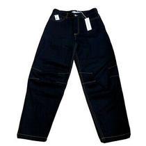 Matthew Adams Dolan Nwt Mens 100% Cotton Moto Jeans Gold Stitches Size 29 Black Photo