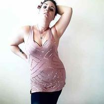 Maurices Blush Zigzag Sequin v Neck Tank Top Photo