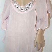 Maurices Dolman Sleeve Blush Blouse Elastic Waist Jeweled Neck Top  0 L Photo