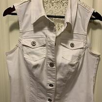Maurices Womens White Denim Vest With Crochet Detail Plus Size 0 Photo