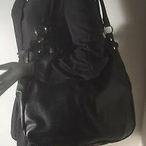 Maurizio Taiuti Large-X Large Black Pebbled Leather Shoulder Bag Purse Italy Photo