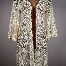 Mauve Ivory Floral All Lace Swimsuit Dress Cover Up Sz Small Boho Anthropologie Photo