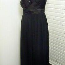 Max and Cleo Bcbg Black Evening Gown With Black Beaded Flowers - 8 Medium Nwt Photo