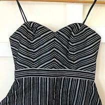 Max and Cleo Black White Dress Size 2 Striped Strapless Gina Bubble Mini New Photo