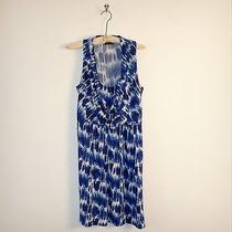 Max and Cleo Blue Painted Print Matte Jersey Dress Size Medium Photo