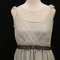Max and Cleo Brand 10 L Gray Silver Metallic Mesh Bow Belt Full Skirt Dress Nice Photo