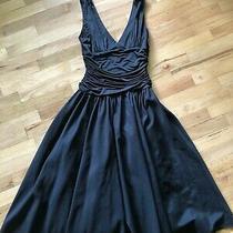 Max and Cleo Formal Black Dress v-Neck Rushing Full Skirt Size 6 Euc Tulle Midi Photo