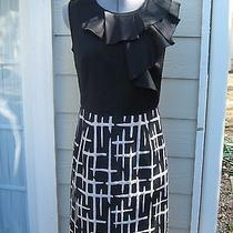 Max and Cleo Size 6 Dress Wiggle/pencil Ruffle Audrey Hepburn Black/taupe Photo