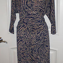 Max and Cleo Stylish Faux Wrap Jersey Dress Sz L Perfect