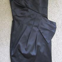 Max Cleo Black Satin Short Strapless Homecoming Formal Cocktail Dress 4 Small S Photo
