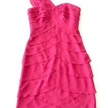 Max & Cleo Lynn Dress Size 6 Cosmic Pink One Shouder Short Ruffle Sleeveless Photo