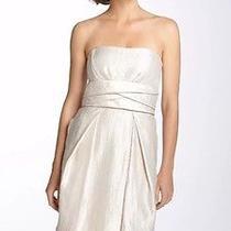 Max & Cleo Strapless Metallic Taffeta Pleated Dress Champagne 14 Nwt Photo