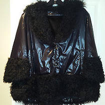 Maximilian Black Rabbit Fur Jacket  With Lamb Fur Trim Sz L  Photo