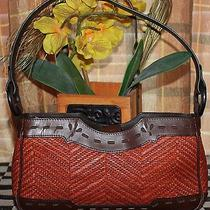 Maxx New York Brown Leather/orange Straw Tooled Graffiti Leather Hobo Small Bag  Photo