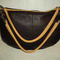 Maxx New York Brown Leather Shoulder Hobo Bag Satchel Tote Purse Tan Accent Euc Photo