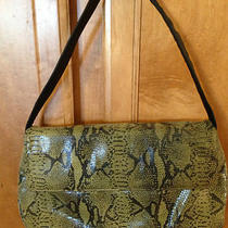 Maxx New York Green Faux Snake Croc Animal Embossed Shoulderbag Tote Photo