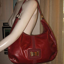 Maxx New York Red Leather Gold Mini Stud Trim Hobo Bag 10x14 Photo