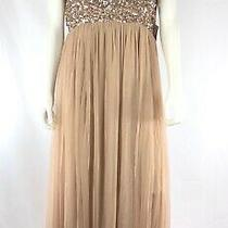 Maya Deluxe Maternity Dress Size 10 Sequin Sleeveless Tulle Maxi Taupe Blush Photo
