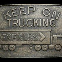 Mb13146 Vintage 1970s Keep on Trucking Express Freight Company Belt Buckle Photo