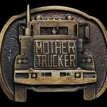 Mb13163 Vintage 1977 Mother Trucker (Semi-Truck) Belt Buckle Photo