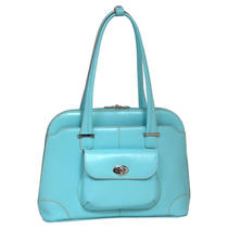Mckleinusa Avon 96658 Italian Leather Ladies' Briefcase - Aqua Blue Photo