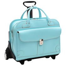 Mckleinusa Lakewood 96618 Italian Leather Detachable Ladies Briefcase -Aqua Blue Photo