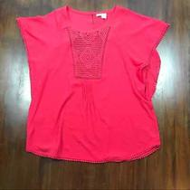 Meadow Rue Anthropologie Pink Short Sleeve Flowy Blouse Top Size Large  Photo