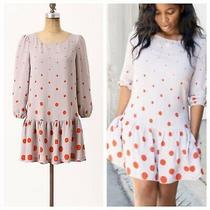 Meadow Rue Anthropologie Polka Dot Drop Waist Dress 3/4 Sleeve Size 2 Purple Red Photo