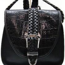 Med Brighton Black Croco Leather Flap Shoulder Crossbody Bag Handbag Purse Bag Photo