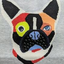 Med Lisa Todd Frenchie Dog Sequin Thin Grey Cotton Sweater Nwt Anthropologie Photo