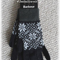 Medium Barbour Lambswool Gloves Black / Grey New Tags Mens Womens  Photo