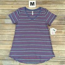 Medium Christy Tee Lularoe Red Yellow Stripes on Blue v-Neck T-Shirt Size 10-12 Photo